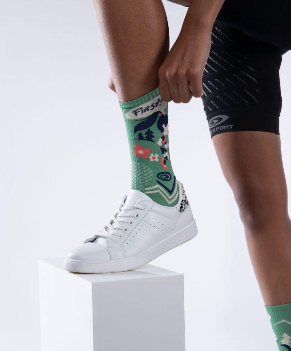 Socquette des bosses et des bulles de BV Sport porté coloris vert